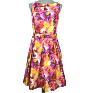 Evan Picone Belted Fit Flare Floral Dress